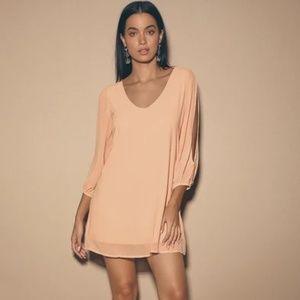 Lulu's Shifting Dear Tan Long Sleeve dress